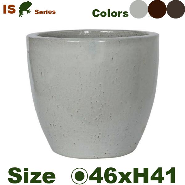 IS ラウンド L(直径46cm×H41cm)(底穴あり 尺鉢対応 土もの 陶器鉢 テラコッタ プランター 園芸 新色 ポット)