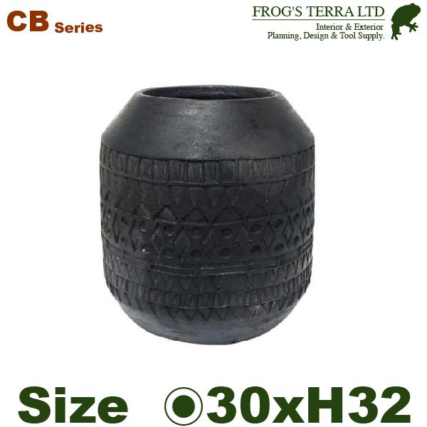 CB ナツメテラ L(直径30cm×H32cm)(底穴あり 土もの 陶器鉢 テラコッタ 手作り エンボス ろくろ ポット)