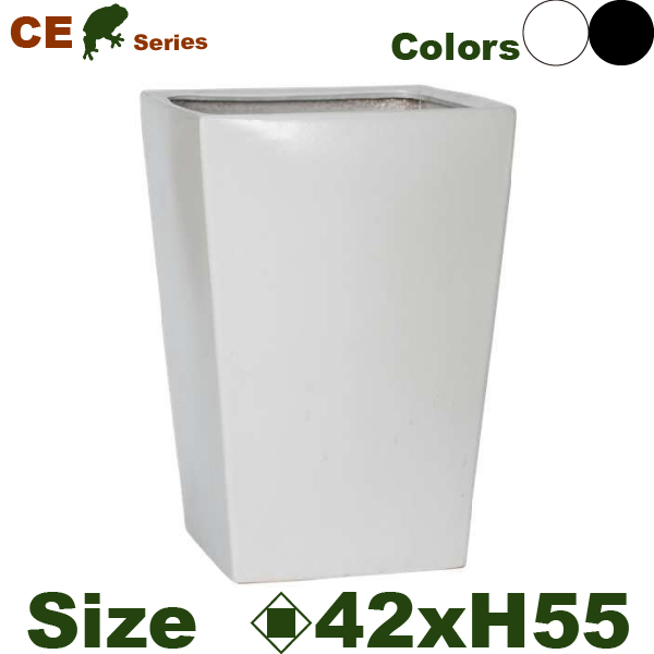 CE 角高鉢42(ロ42cm×H55cm)(底穴あり)(尺鉢対応 陶器製 イコミ製法 軽量プランター ポット)