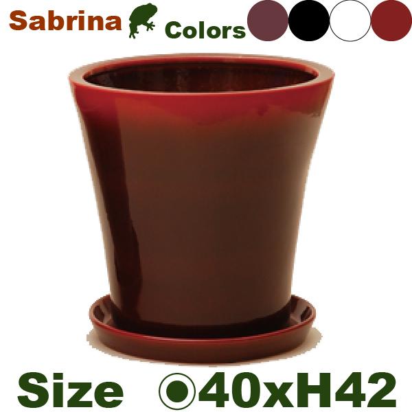 サブリナ L S002L(直径40cm×H42cm)(底穴あり/受皿付)陶器製 店舗装飾 観葉 カフェ 軽量 プランター 鉢
