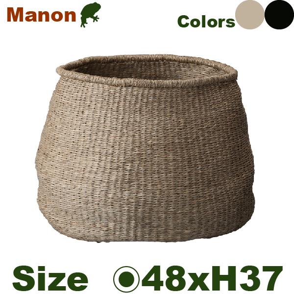 マノン・L Na/Bk(直径48cm×H37cm)(底穴なし)(植物繊維)(植木鉢/鉢カバー)(プランター/園芸/寄せ植え/バスケット)