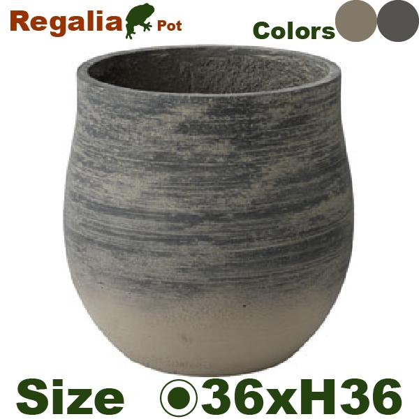 レガリア ポット L Be/Bk(直径36.5cm×H36.5cm)底穴あり セメント 鉢 植木鉢 ディスプレイ 店頭装飾 グリーン オフィス おしゃれ カフェやレストランにも
