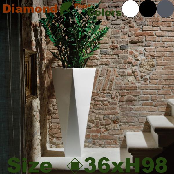 ユーロスリープラスト+・ダイアモンド・98・EP-6214・ラッカー塗装(ロ36cm×H98cm)(euro3plast/Diamond)(ポリエチレン樹脂)(プランター/鉢カバー/ポット)