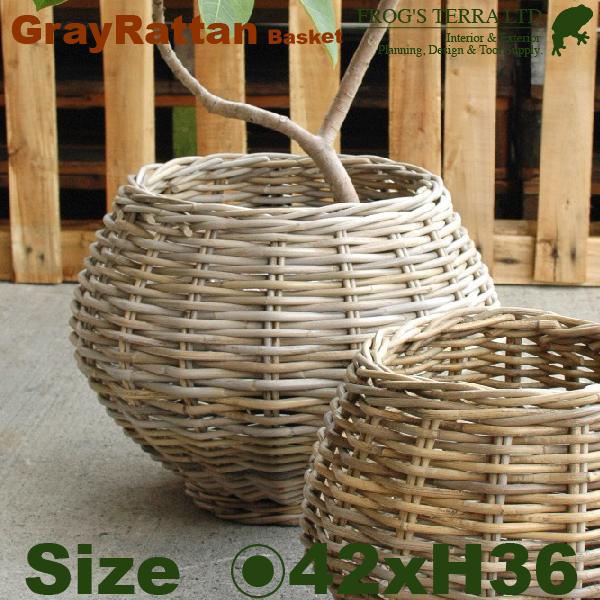 Gray Rattan Basket M B1246(直径42cm×H36cm)(底穴なし)(ラタン/藤)(植木鉢/鉢カバー)(プランター/寄せ植え)