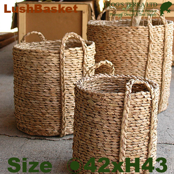 Lush Basket・M・B9261(直径42cm×H43cm)(底穴なし)(植物繊維)(植木鉢/鉢カバー)(プランター/園芸/寄せ植え/ポット)