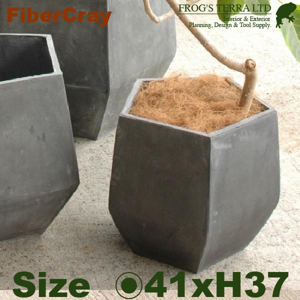 ペンタゴンポット・S・F9801(直径41cm×H37cm)(ファイバーグラス/ファイバークレイ)(植木鉢/鉢カバー)(底穴あり/軽量プランター)