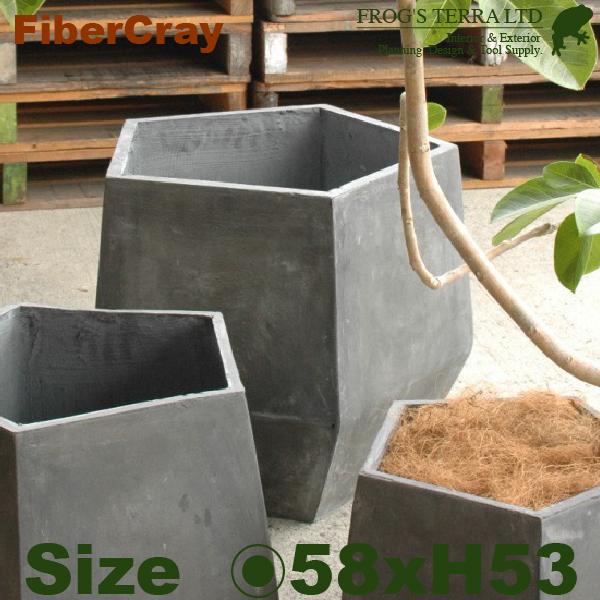ペンタゴンポット・L・F9803(直径58cm×H53cm)(ファイバーグラス/ファイバークレイ)(植木鉢/鉢カバー)(底穴あり/軽量プランター)