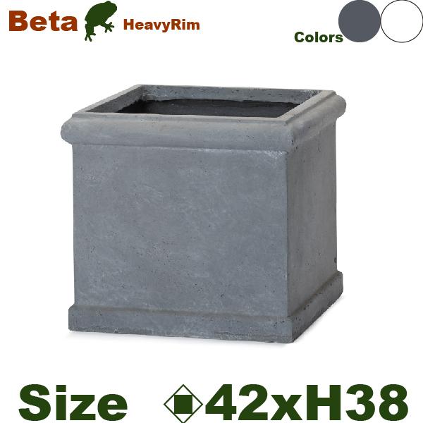 ベータ ヘビーリム 42 M ファイバークレイ(ロ42cm×H38cm)底穴あり セメント 軽量プランター 鉢 店舗装飾 大型 カフェ プロ