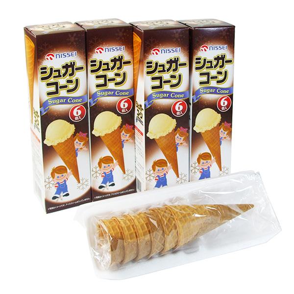 バレンタイン コーンチョコ チョココーン 日世シュガーコーン メーカー再生品 期間限定今なら送料無料 ソフトクリーム アイスクリーム用コーン ×4箱 6入