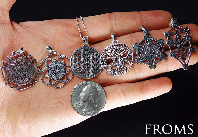 選べる6種類 古代神聖幾何学 Silver ペンダント 【 フラワーオブライフ フルーツオブライフ エッグオブライフ ツリーオブライフ カバラ 生命の樹 セフィロト】