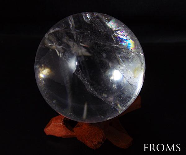 虹入レインボー レムリアンシード 水晶 スフィア 丸玉 約51mm195g #1612-q06 パワーストーン 天然石 置物