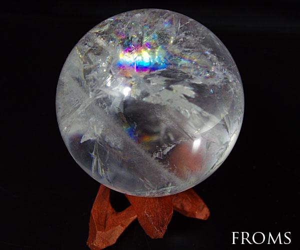 虹入レインボー レムリアンシード 水晶 スフィア 丸玉 約53mm215g #1612-q03 置物 パワーストーン 天然石