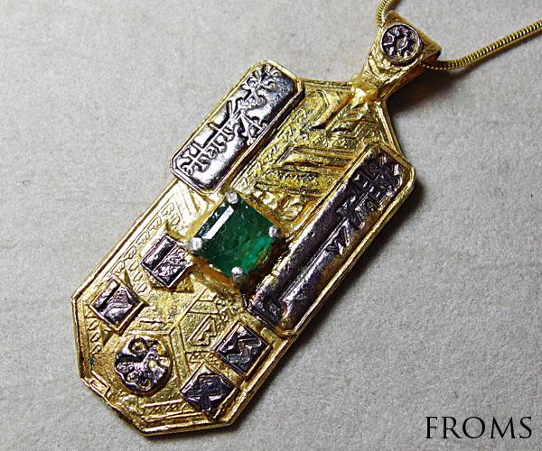 富と繁栄の護符SKYDINZEALスカイディンエメラルドウエルネスタリスマンペンダント古代の刻印K18 Silver