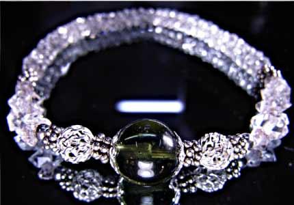 【送料無料】アゼツライト、モルダバイトとハーキマーダイヤモンドのコスモグリーンブレスレット【H&E社】【レビューを書いてクーポンプレゼント♪】★★
