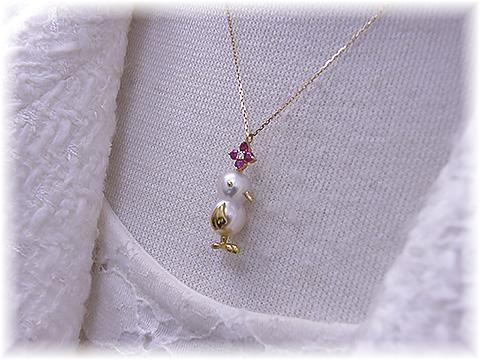 真珠ペンダント K18 ダイヤとルビー チーウーペンダント
