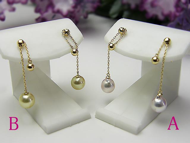 真珠ピアス 送料無料受注生産K18あこや真珠6ミリピアス