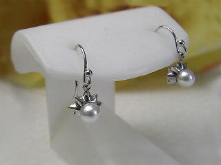 真珠ピアス 送料無料タコピアス(タコ脱着出来ます)K14WG&SVパール ジュエリー たこ 真珠婚 30年 可愛い 手作り あこや プレゼント 個性的 人気
