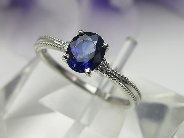 サファイアリング 送料無料Bijoux fromsea Ptサファイアリングインクブルー ブルーサファイア 指輪 青 12号
