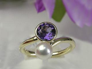 アメジストリング 送料無料K10アメジスト&あこやパールリングあこや真珠 アコヤ真珠 指輪 紫