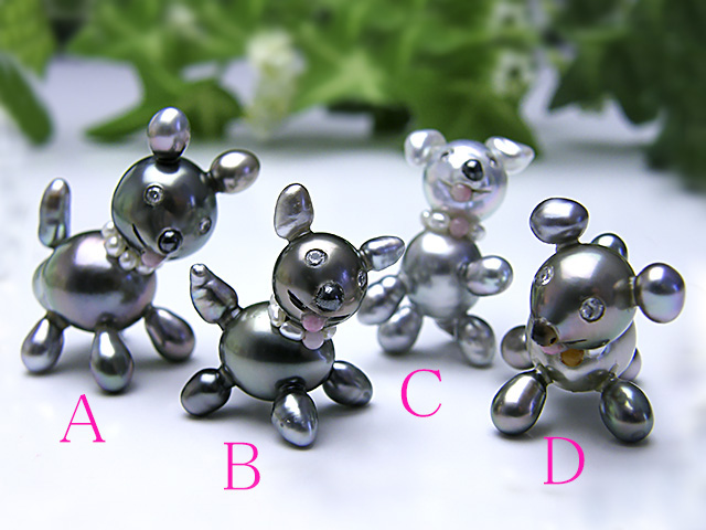 真珠置物【送料無料】『 黒い 忠犬 ○○ちゃん 』
