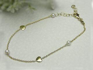 真珠ブレスレット 送料無料K18 さりげなくパールのブレスレットパール ジュエリー ハート 真珠婚 30年 おすすめ品 淡水真珠 プレゼント 人気 誕生日