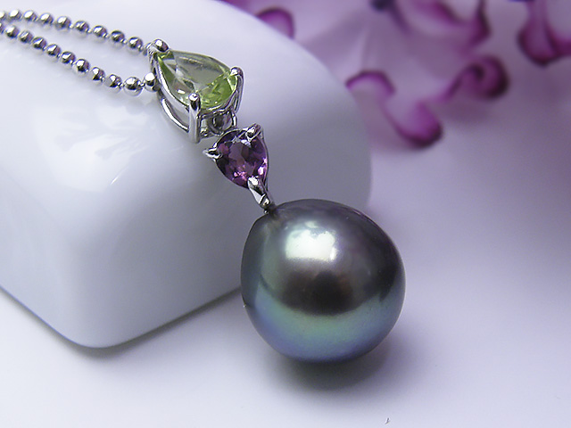 真珠ペンダント 送料無料K18WG淡水真珠ペンダントパール ジュエリー パープル 真珠婚 30年 おすすめ品 ピンク ピンクトルマリン 可愛い ペリドット誕生日