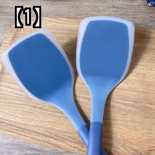 予約販売5~8営業日での発送 シリコン 好評受付中 ヘラ 流行のアイテム キッチングッズ キッチン用品 ソフト 2点セット ブルー 調理器具 シンプル スパチュラ 傷つきにくい 焦げ付き防止