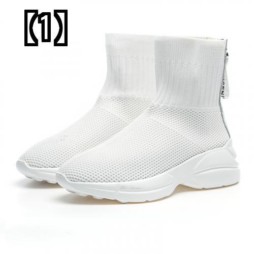 予約販売5~8営業日での発送 ブーツ レディース シューズ 靴 ショート 厚底 ニット 2020モデル ソックス シンプル おしゃれ スポーティー 休日 超激安 イベント 快適 お出かけ カジュアル 無地 白 黒 伸縮性