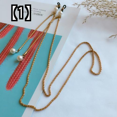 予約販売5~8営業日での発送 メガネ 真珠 レトロ メタル サングラス 贈答 正規認証品 新規格 色褪せ防止 ホルターネック 滑り止め ストラップ