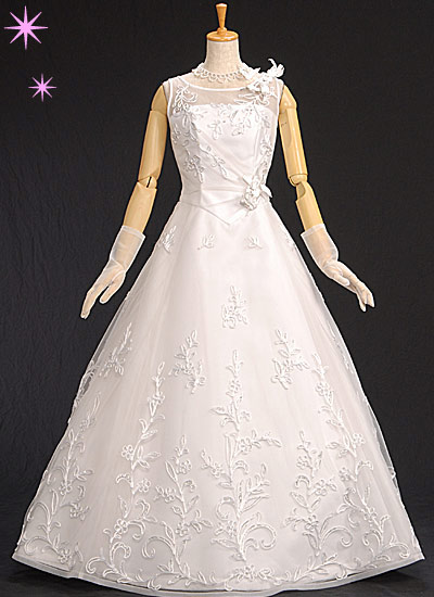 シルバーのキラキラがさり気なく光る大人可愛いドレス 限定1着【中古】格安ウェディングドレス9号 Aライン ホワイト