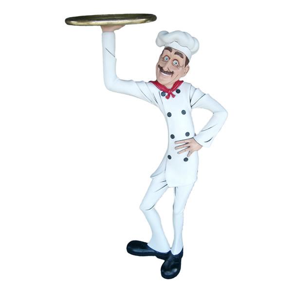 FRPオブジェ シェフ自慢のおすすめ料理 置物 人物 人形 料理人 キッチン 飲食店 店舗 イベント ディスプレイ 実物大 等身大 リアル