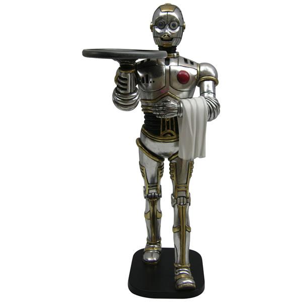 FRPオブジェ ロボットウェイター 置物 機械 近未来 像 給仕 ウエイター キッチン 飲食店 店舗 イベント ディスプレイ 実物大 等身大 リアル
