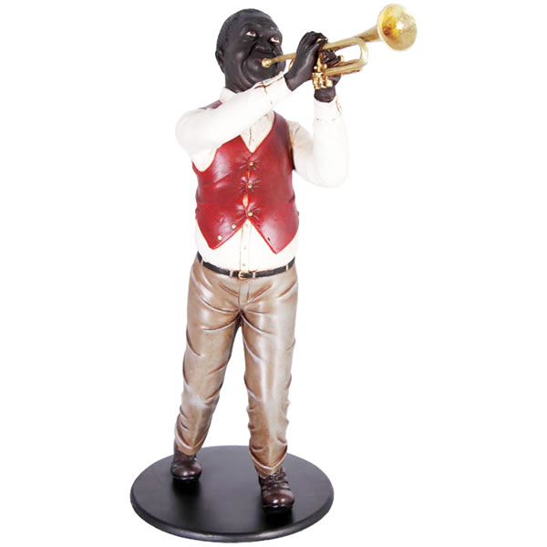 FRPオブジェ トランペットを演奏する人 置物 人物 人形 像 音楽 楽器 店舗 イベント ディスプレイ 実物大 等身大 リアル 【whlny】