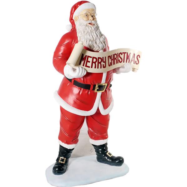 FRPオブジェ クリスマスを祝うサンタ 置物 人物 人形 クリスマス サンタクロース トナカイ 店舗 イベント ディスプレイ 実物大 等身大 リアル 【whlny】