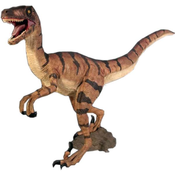 FRP恐竜オブジェ ヴェロキラプトル 置物 白亜紀 肉食恐竜 獣脚類 標本 博物館 店舗 イベント ディスプレイ 実物大 等身大 リアル 【whlny】