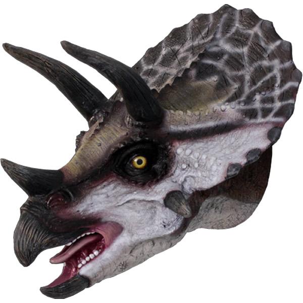 FRP恐竜オブジェ 小型版トリケラトプスの頭 置物 白亜紀 草食恐竜 角竜類 標本 博物館 店舗 イベント ディスプレイ 実物大 等身大 リアル 【whlny】