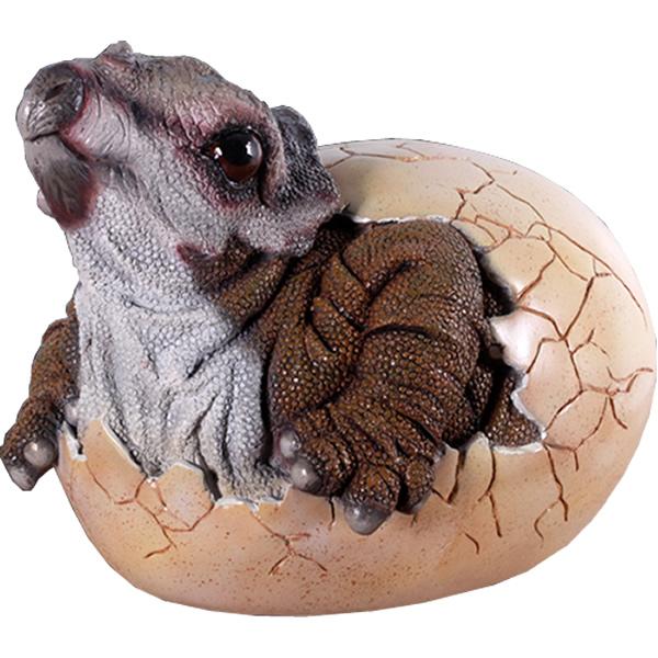 FRP恐竜オブジェ 孵化するトリケラトプス 【即納可】 置物 白亜紀 草食恐竜 角竜類 卵 標本 博物館 店舗 イベント ディスプレイ 実物大 等身大 リアル 【whlny】