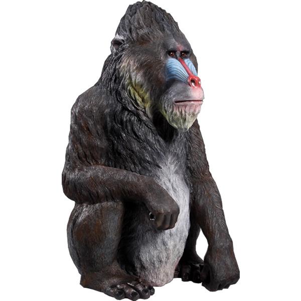 FRPアニマルオブジェ マンドリル 置物 動物 猿 サル さる 動物園 店舗 イベント ディスプレイ 実物大 等身大 リアル 【whlny】