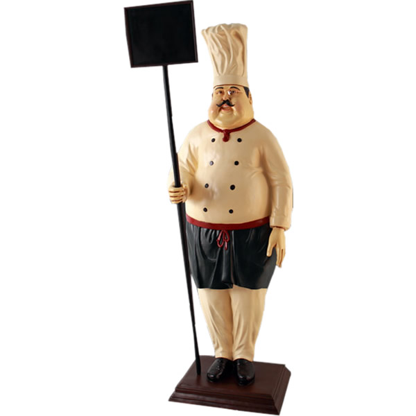 FRPオブジェ メニューボードを持つコック 置物 人物 人形 料理人 キッチン 飲食店 店舗 イベント ディスプレイ 実物大 等身大 リアル