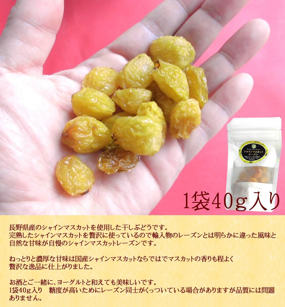 長野県産シャインマスカット[レーズン40g20袋]ドライフルーツ保存食国産レーズン送料無料
