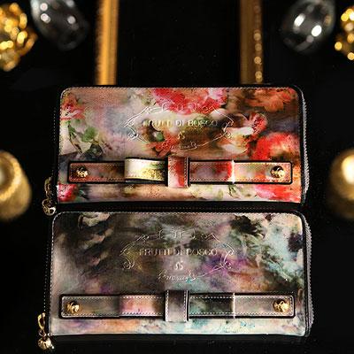 フルッティディボスコ Palace 財布 レディース 長財布 ラウンドファスナー エナメル 個性的 アートレザー ブルー/ピンク