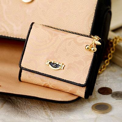 フルッティディボスコ mezzo merlette レディース ミニ財布 エナメル 個性的 レース アートレザー ピンク/ベージュ ブラック