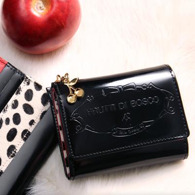 フルッティディボスコ mezzo OLIVIA レディース ミニ財布 ガラス革 個性的 ブラック/ダルメシアン