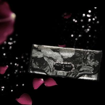 フルッティディボスコ Sera marion -Luna- 財布 レディース 長財布 エナメル アートレザー 個性的 花柄 フラワーモチーフ ブラック/シルバー