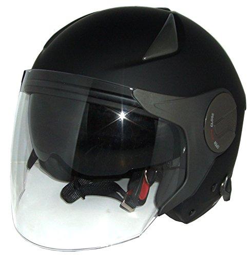 期間限定特価 Wシールドつや消しブラックジェットヘルメット 洗える内装!