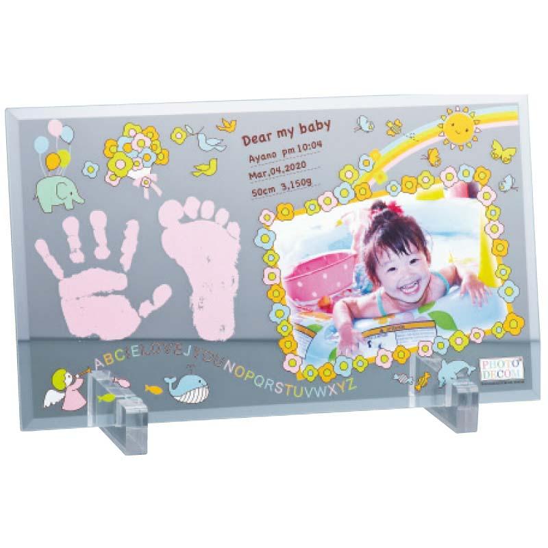 【お歳暮は終了しました。】フォトデコムクリアガラス手形足形フレーム(お仕立て券) 【※代引不可、北海道沖縄離島は送料1,000円追加】