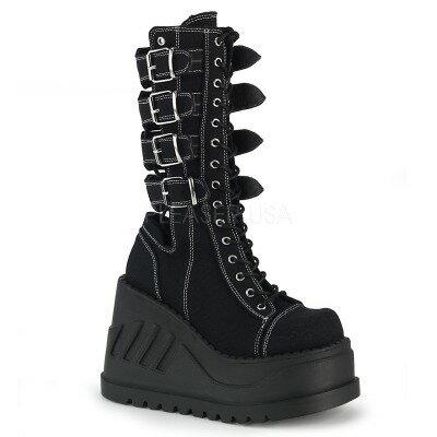 DEMONIA【取り寄せ】デモニア・品番:STOMP-210/バックルストラップミッドカーフブーツ/キャンパスブラック/黒