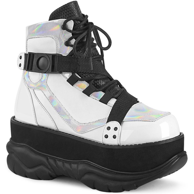 DEMONIA【取り寄せ】ジグザグストラップ厚底ショートブーツ/品番:NEPTUNE-181/NEP181/7cmヒール/ゴシック/原宿系/フェティッシュ/厚底靴/厚底シューズ/大きいサイズ/靴/フェイクレザーホワイト/白