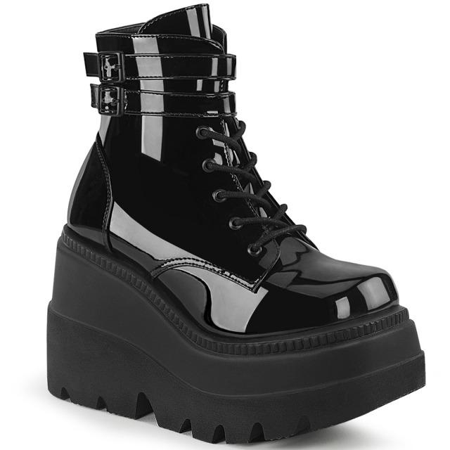 DEMONIA【取り寄せ】ダブルアンクルストラップ厚底ショートブーツ/品番:SHAKER-52/SHA52/11cmソール/ゴシック/原宿系/原宿ファッション/フェティッシュ/厚底靴/厚底シューズ/大きいサイズ/靴/エナメルブラック/黒色