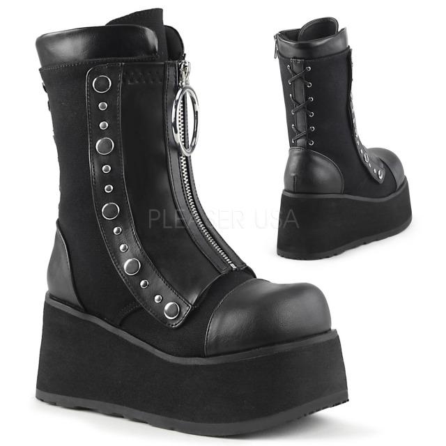 DEMONIA【取り寄せ】コルセットレースデザイン厚底ミッドカーフブーツ/品番:CLASH-206/CLA206/8cmヒール/フェイクレザーブラック/黒
